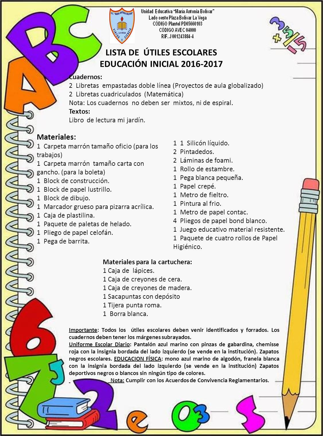 Lista De Tiles Escolares 2016 2017
