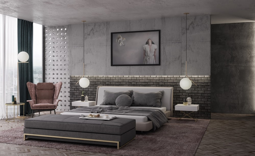 all-grey-industrial-style-bedroom-furniture