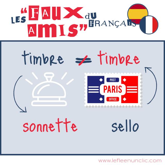les faux amis du français, espagnol, timbre, sello, FLE, le FLE en un 'clic'