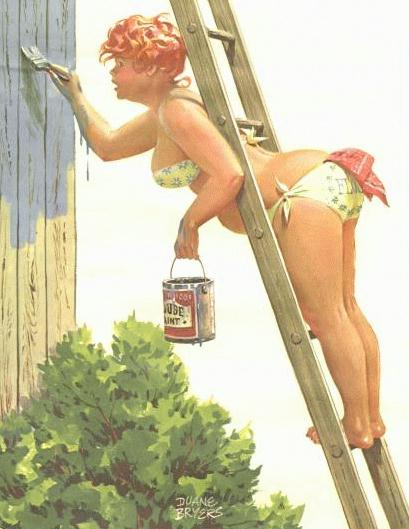 Hilda gordita pin up pintando la pared