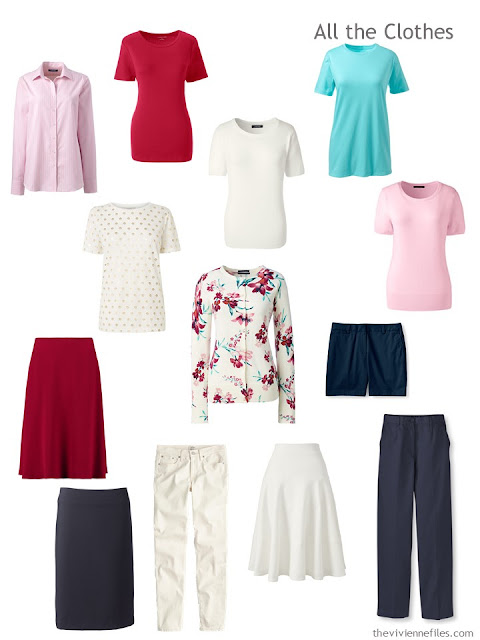 13 piece travel capsule wardrobe based on a floral cardigan