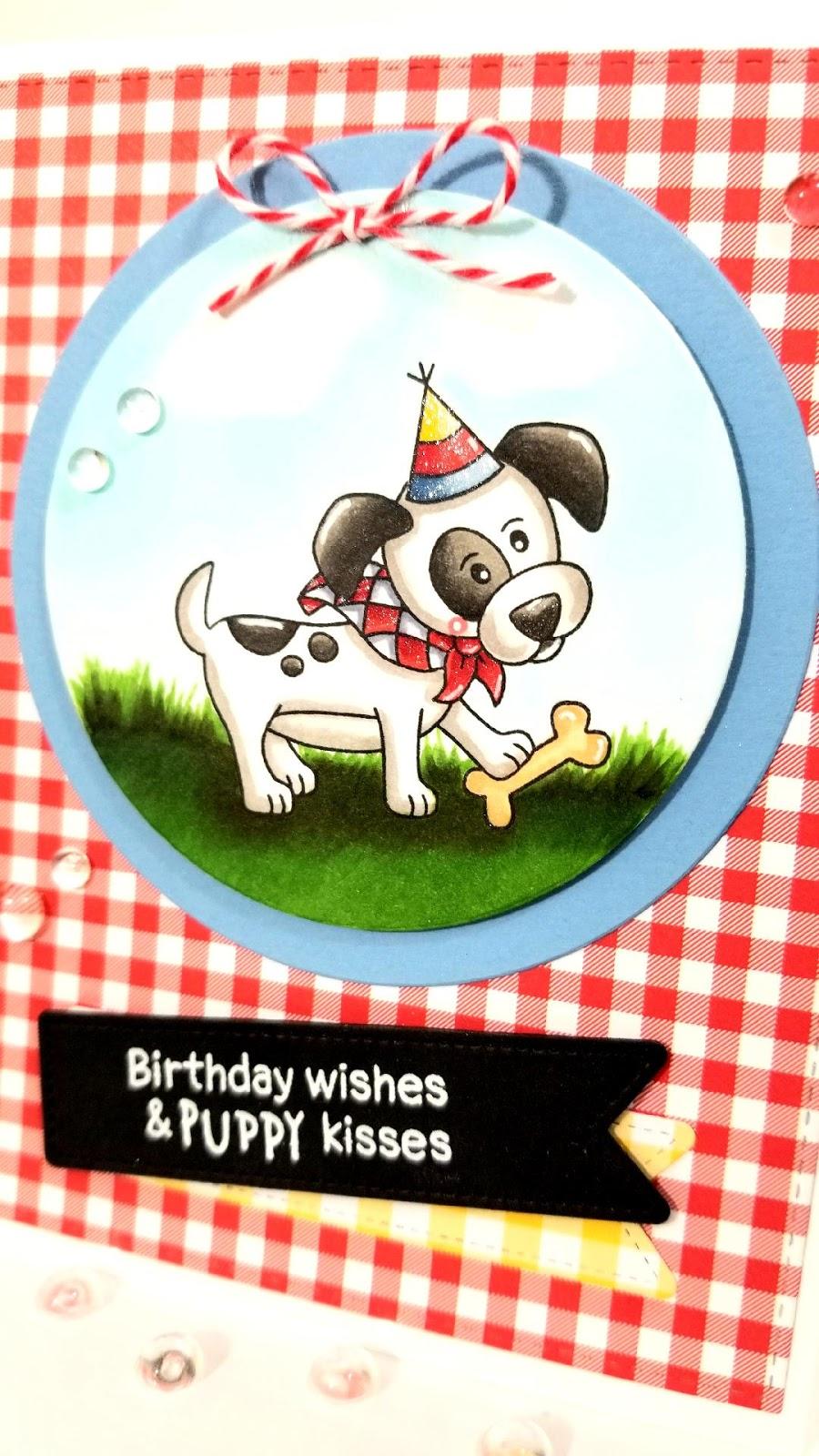 Birthday Wishes & Puppy Kisses Card by February Guest Designer Lori U'ren | Puppy Playtime Stamp Set by Newton's Nook Designs #newtonsnook #handmade
