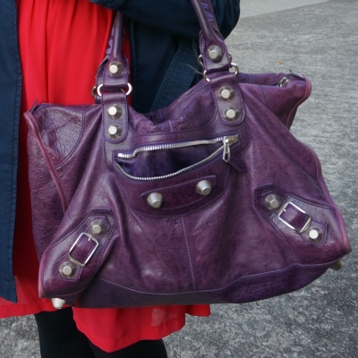 slouchy purple Balenciaga work bag | away from the blue