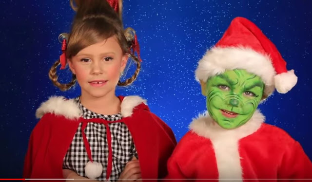 maquillajes y disfraces para The Grinch y Cindy niños