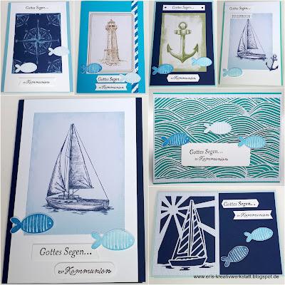 """Maritime Kommunionkarten zum Thema """"Fisch"""" Stampin' Up! www.eris-kreativwerkstatt.blogspot.de"""