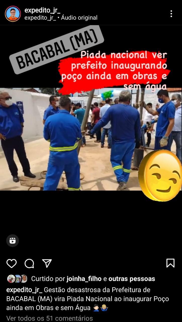 """""""Piada nacional: prefeito de Bacabal inaugura poço ainda em obras e sem água"""", posta Expedito Júnior"""