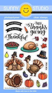 Sunny Studio Bountiful Autumn Thanksgiving 4x6 Clear Stamp Set