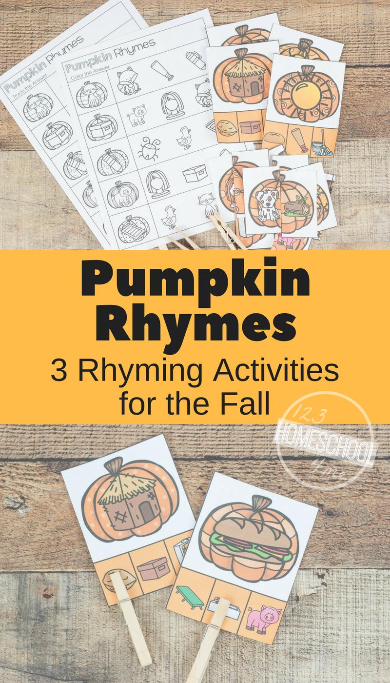 Workbooks rhyming patterns worksheets : FREE Pumpkin Rhyming Words