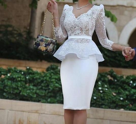 فستان سوارية غير محجبات ابيض قصير