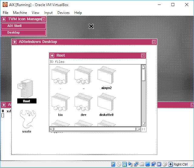 Supratim Sanyal's Blog: Running IBM AIX Operating System on PC Virtual Box - Graphical Desktop X11 X-Windows Motif