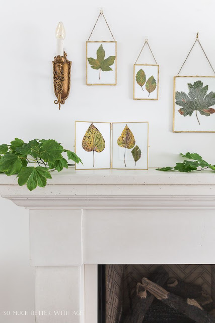 Fall Mantel With Pressed Leaves