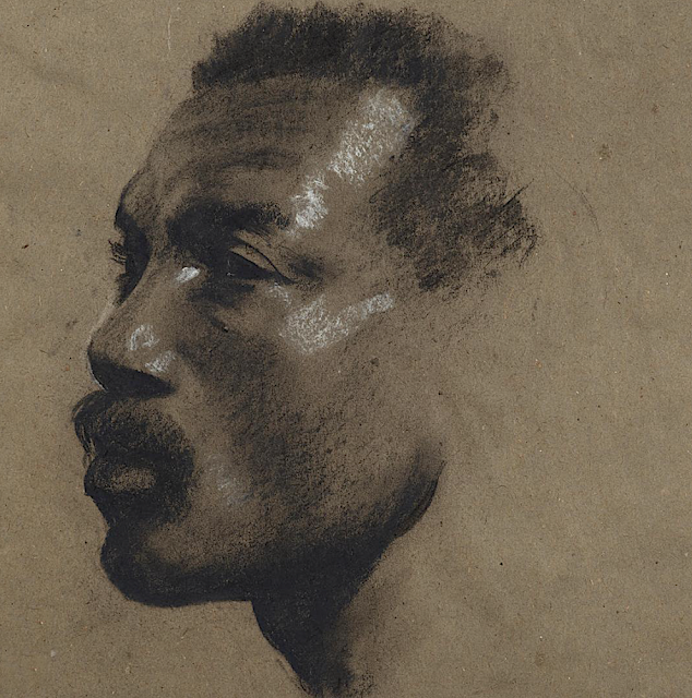 Glyn Warren Philpot (1884 -1937), Head of a man c. 1912-13 Charcoal with white heightening on brown paper 26.5 × 25.5 mm,  Courtesy of Agnews gallery.