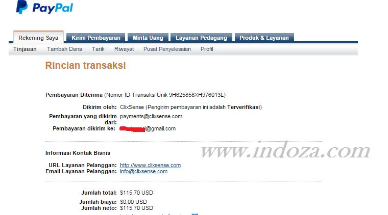 Bukti pembayaran Ptc Clixsense desember 2014