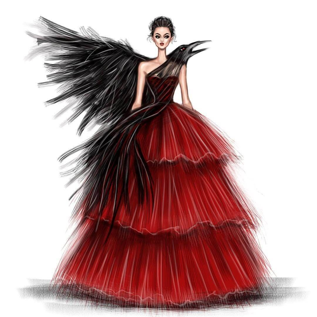 03-Raven-Gown-Shamekh-Bluwi-Haute-Couture-Exquisite-Fashion-Drawings-www-designstack-co