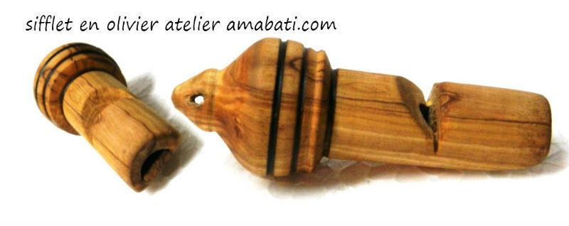 Sifflet en bois d'olivier par Atelier Amabati