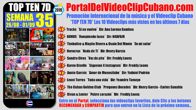 Artistas ganadores del * TOP TEN 7D * con los 10 Videoclips más vistos en la semana 35 (26/08 a 01/09 de 2019) en el Portal Del Vídeo Clip Cubano