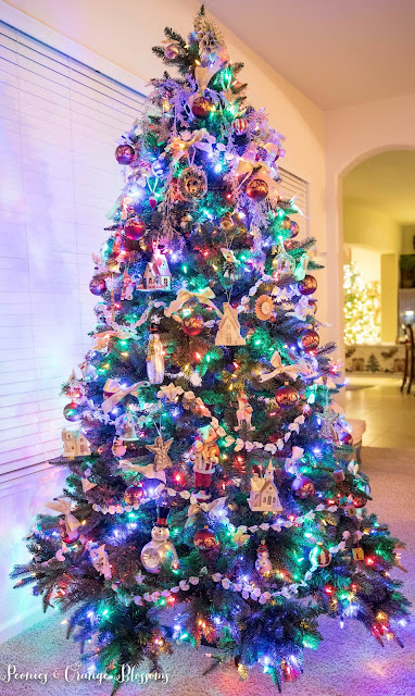 Classic Vintage Christmas tree with colored lights