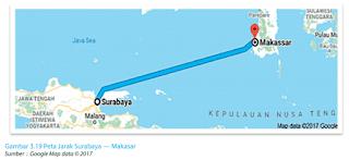 Gambar 3.19 Peta Jarak Surabaya — Makasar www.simplenews.me