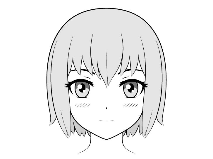 Gadis anime menghadapi gambar tampilan depan