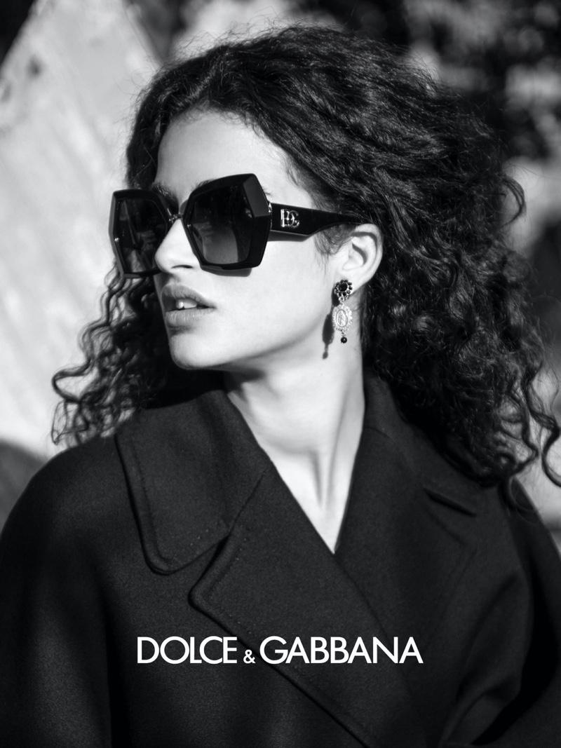 Chiara Scelsi fronts Dolce & Gabbana eyewear fall-winter 2020 campaign.