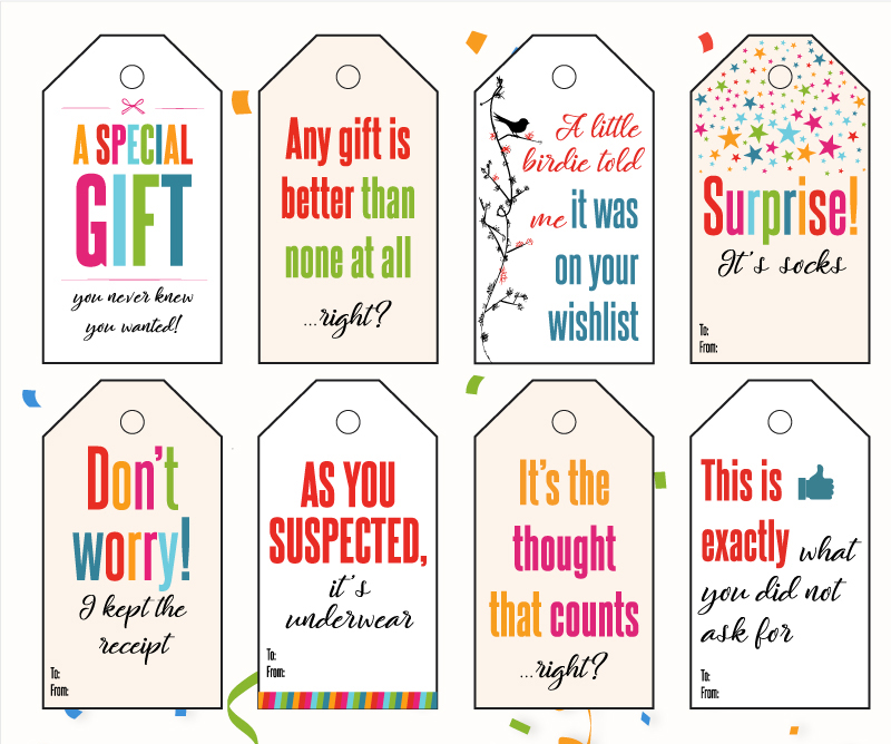 Funny Gift Tags For Any Occasion -- Printable PDF