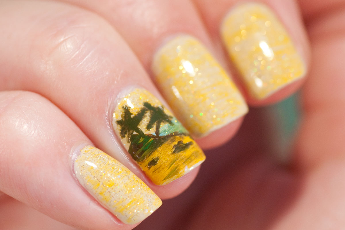 Vacation Nail Art Beach Scene Manicure