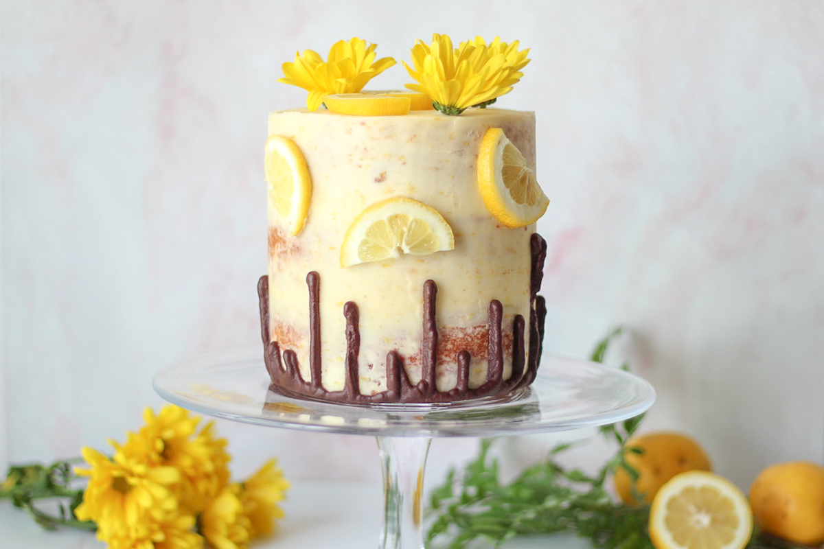 Lemon Cake with Chocolate Ganache