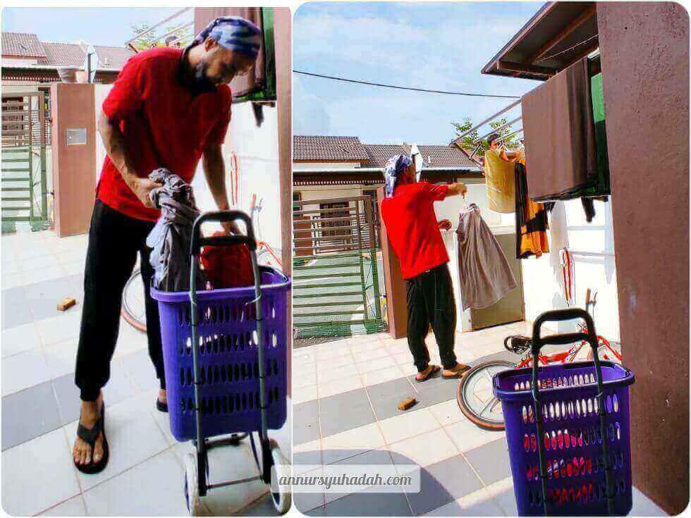 Teladan membantu isteri di rumah ditunjukkan oleh ayah
