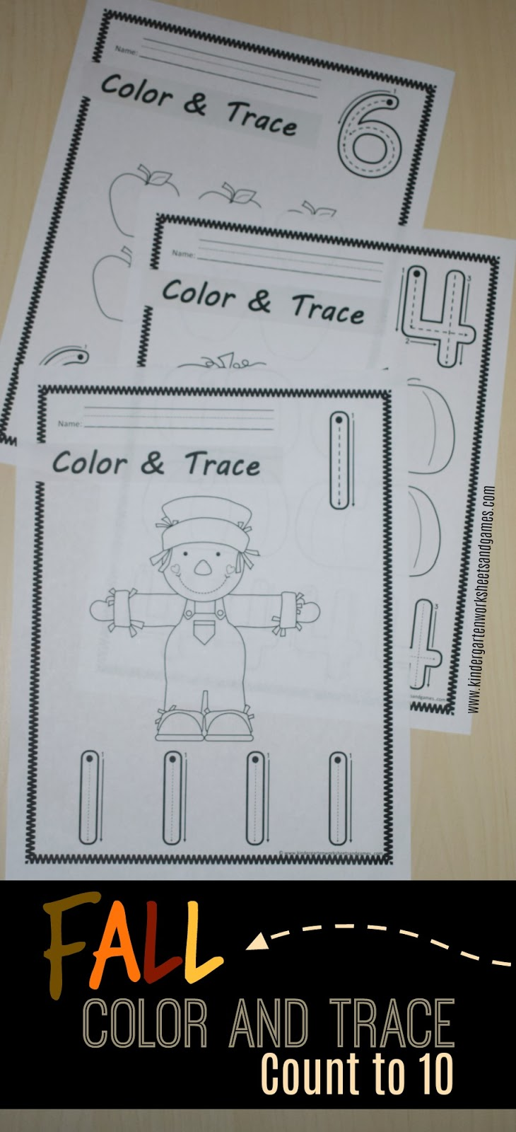 Kindergarten Worksheets And Games Free Fall Color And Trace Count