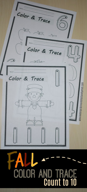 Make learning tracing numbers and learning to count to 10 fun with these super cute, free printable, number tracing worksheets. Each of the pages includes a  free fall pictures to color along with a number 1-10 to trace. This is such a simple, no prep fall math worksheet for toddler, preschool, pre k, and kindergarten age students. Just color and trace!