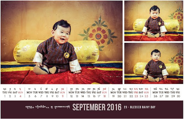 The new September calendar bearing the photos of the Crown Prince of Bhutan was published