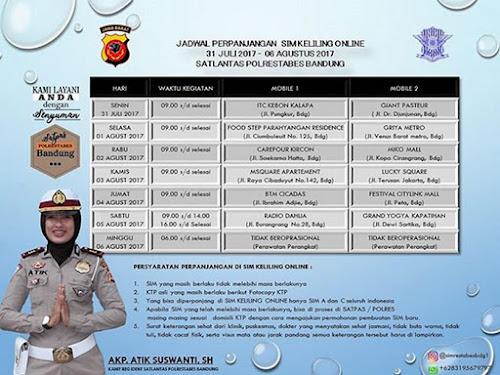 Jadwal Layanan SIM Keliling Polrestabes Bandung Bulan Agustus  2017