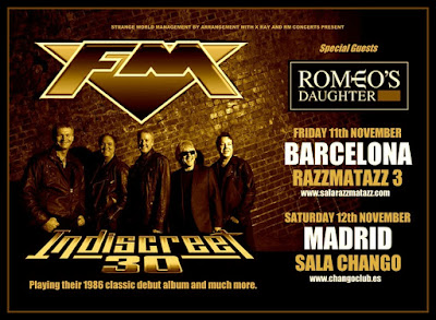 FM - Romeo's Daughter - Spain - November 2016 - Indiscreet 30 - tour dates