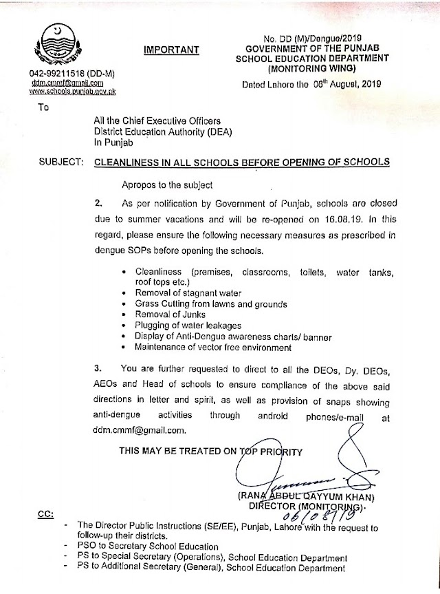 INSTRUCTIONS REGARDING CLEANLINESS IN ALL SCHOOLS BEFORE OPENING OF SCHOOLS AFTER SUMMER VACATIONS