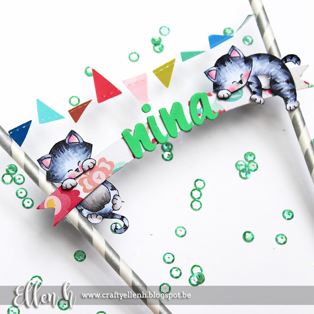 Banner Decoration by September Guest Designer Ellen Hax | Cat stamps by Newton's Nook Designs #newtonsnook