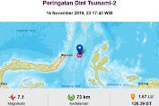 Gempa Bumi Goncang Sulut 7,1 Berpotensi Tsunami