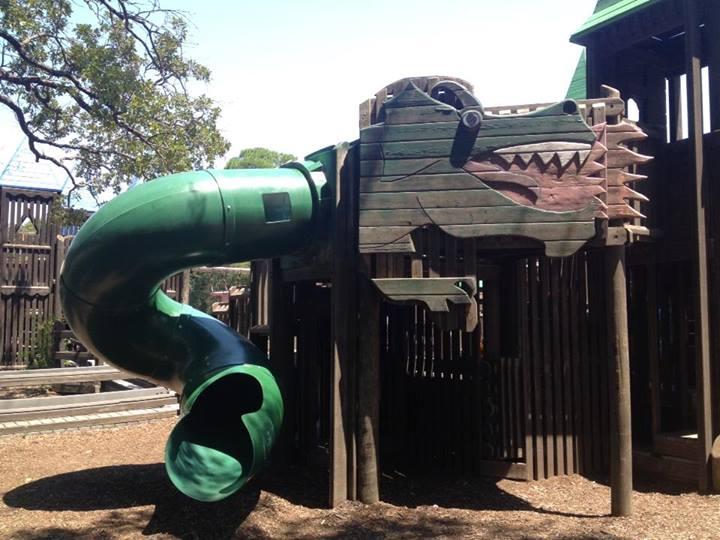 spiral dragon slide at a playground