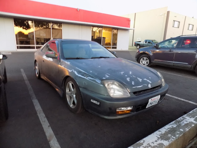 Honda Prelude before enamel, single-stage paint at Almost Everything Auto Body.