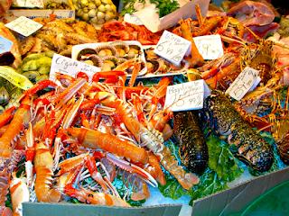 Seafood in La Boqueria