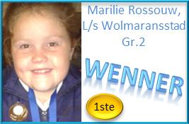 Veels geluk, Marilie Rossouw, Gr.2 – met die eerste plek wat jy behaal vir die aanbieding van jou redenaarstoespraak by L/s Wolmaransstad! Nogal met jou heel eerste deelname aan redenaars!!