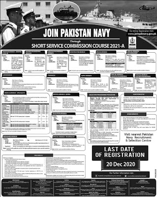 Job Opportunities at Pakistan Navy through Short Service Commission Course December 2020 2021-A Online Registration