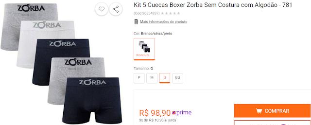 Kit 5 Cuecas Boxer Zorba Sem Costura com Algodão