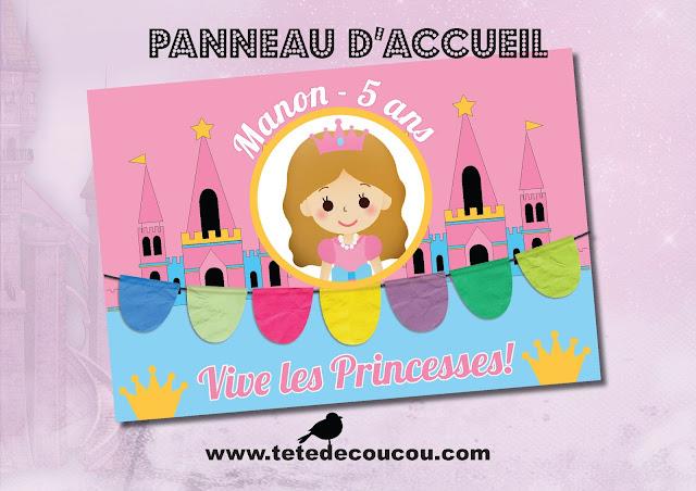 Pancarte bienvenue Kit anniversaire personnalisé princesse fille rose à imprimer tête de coucou