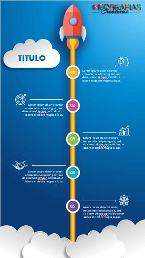 Plantilla infografía animada vertical de cinco pasos