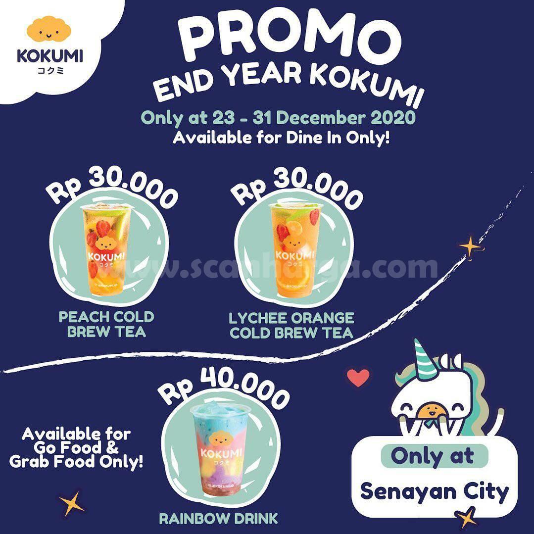KOKUMI Promo YEAR END – harga Spesial Peach atau Lychee Orange Cold Bree Tea hanya Rp30.000