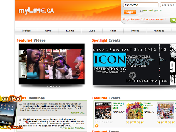 New Caribbean Music Website: MyLime.ca