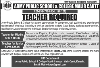 Army Public School And College Jobs for Teachers Dec 2018