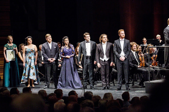 Queen Sonja International Music Competition 2019 -  Astrid Nordstad, Natalia Tanasiiciuc, Sergey Kaydalov, Meigui Zhang, Stefan Astakhov, Adam Kutny and Theodore Browne (Photo Adrian Nielsen)