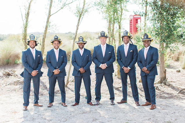 firefighter groom and groomsmen