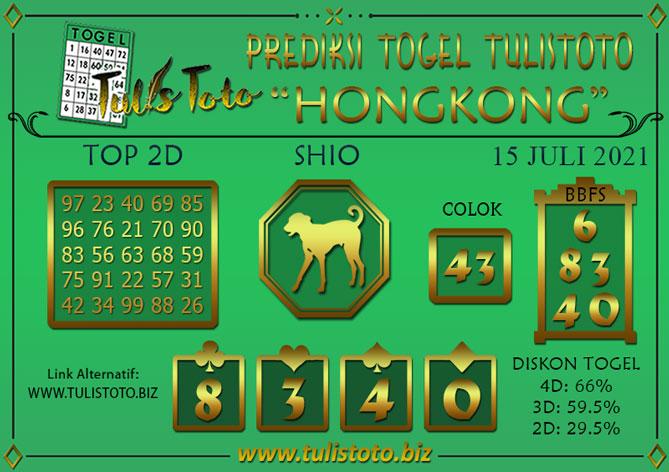 Prediksi Togel HONGKONG TULISTOTO 15 JULI 2021